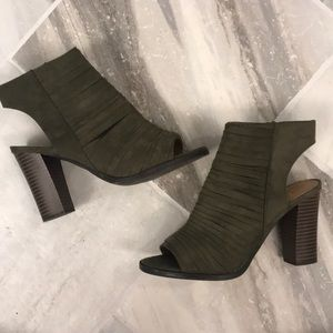 Report Olive Green Open Toe Wedges